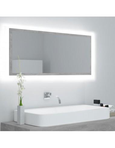 Vonios veidrodis su LED, betono pilka, 100x8,5x37 cm, MDP   Vonios Spintelės   duodu.lt