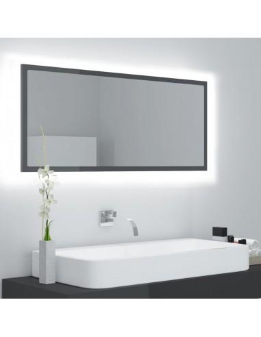 Vonios veidrodis su LED, blizgi pilka, 100x8,5x37cm, MDP | Vonios Spintelės | duodu.lt
