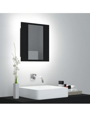 Veidrodinė vonios spintelė su LED apšvietimu, juoda, 40x12x45cm | Vonios Spintelės | duodu.lt