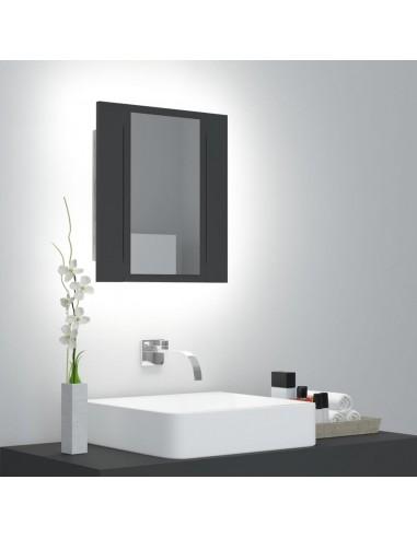 Veidrodinė vonios spintelė su LED apšvietimu, pilka, 40x12x45cm   Vonios Spintelės   duodu.lt