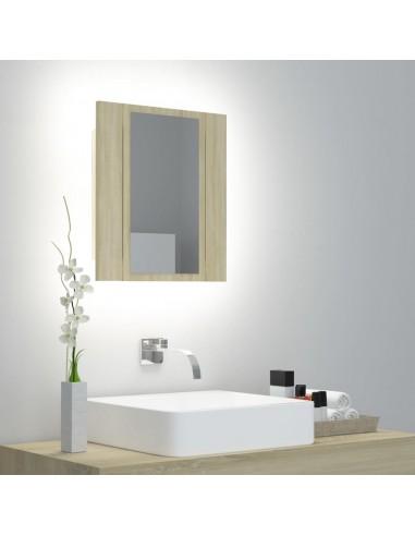Veidrodinė vonios spintelė su LED, ąžuolo, 40x12x45cm   Vonios Spintelės   duodu.lt