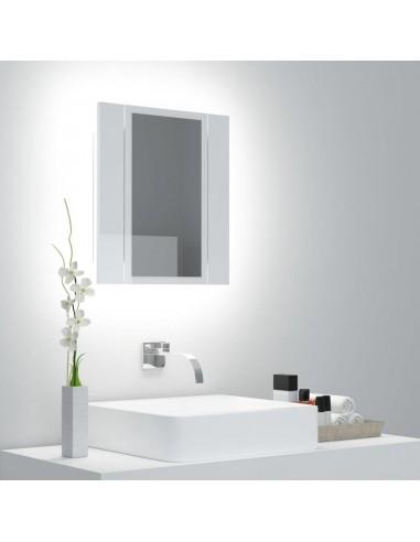 Veidrodinė vonios spintelė su LED, balta, 40x12x45cm, blizgi | Vonios Spintelės | duodu.lt
