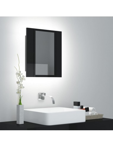 Veidrodinė vonios spintelė su LED, juoda, 40x12x45cm, blizgi   Vonios Spintelės   duodu.lt