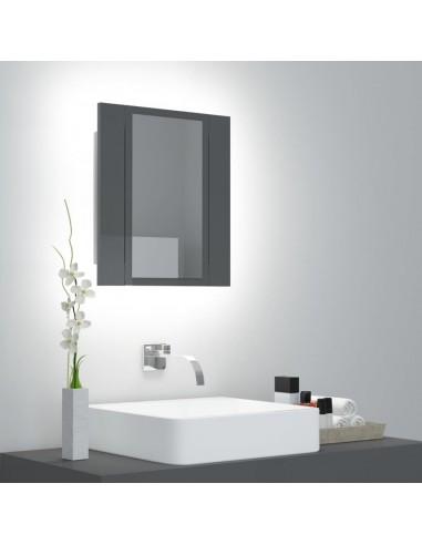 Veidrodinė vonios spintelė su LED, pilka, 40x12x45cm, blizgi   Vonios Spintelės   duodu.lt
