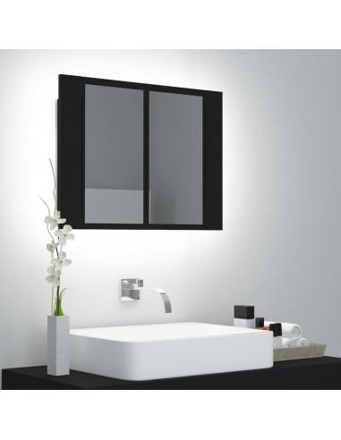 Veidrodinė vonios spintelė su LED apšvietimu, juoda, 60x12x45cm | Vonios Spintelės | duodu.lt