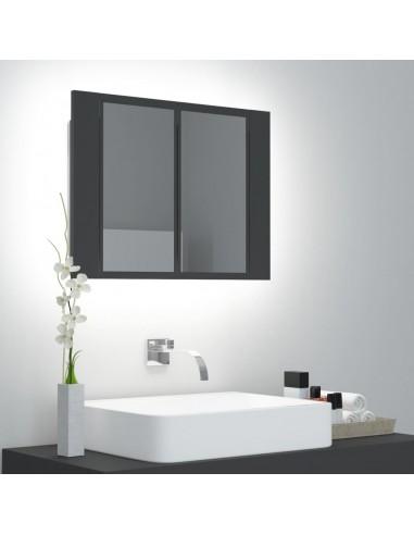 Veidrodinė vonios spintelė su LED apšvietimu, pilka, 60x12x45cm   Vonios Spintelės   duodu.lt