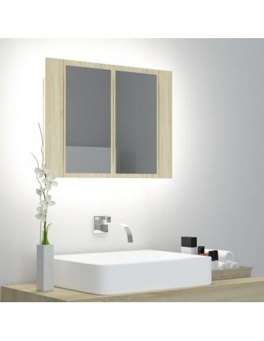 Veidrodinė vonios spintelė su LED, ąžuolo, 60x12x45cm   Vonios Spintelės   duodu.lt