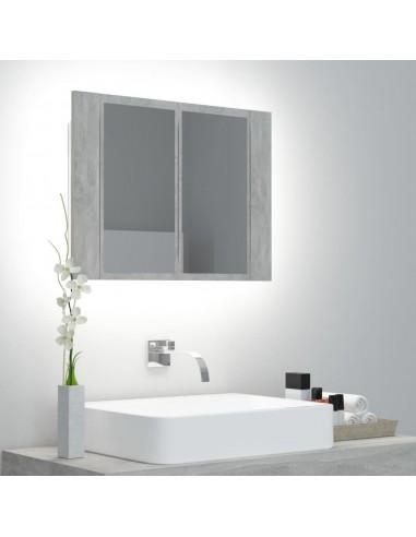 Veidrodinė vonios spintelė su LED, betono pilka, 60x12x45cm | Vonios Spintelės | duodu.lt