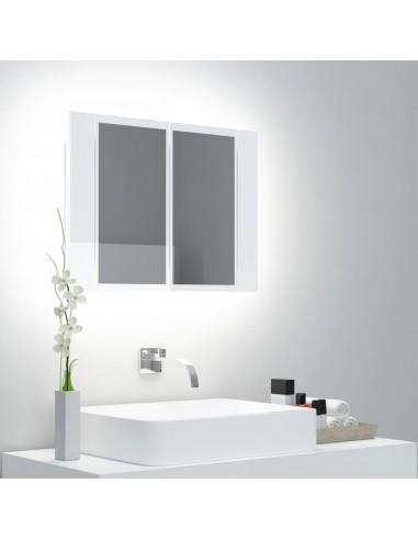 Veidrodinė vonios spintelė su LED, balta, 60x12x45cm, blizgi   Vonios Spintelės   duodu.lt