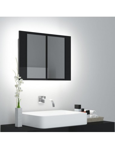 Veidrodinė vonios spintelė su LED, juoda, 60x12x45cm, blizgi | Vonios Spintelės | duodu.lt