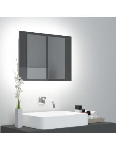 Veidrodinė vonios spintelė su LED, pilka, 60x12x45cm, blizgi | Vonios Spintelės | duodu.lt