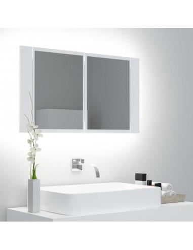 Veidrodinė vonios spintelė su LED apšvietimu, balta, 80x12x45cm | Vonios Spintelės | duodu.lt