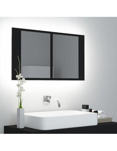 Veidrodinė vonios spintelė su LED apšvietimu, juoda, 80x12x45cm | Vonios Spintelės | duodu.lt
