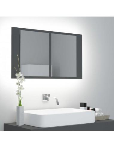 Veidrodinė vonios spintelė su LED apšvietimu, pilka, 80x12x45cm   Vonios Spintelės   duodu.lt