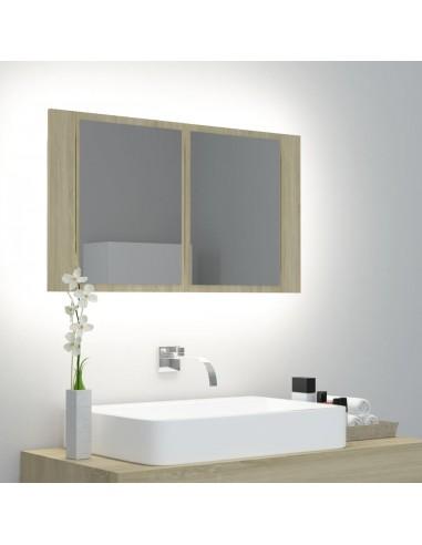 Veidrodinė vonios spintelė su LED, ąžuolo, 80x12x45cm | Vonios Spintelės | duodu.lt