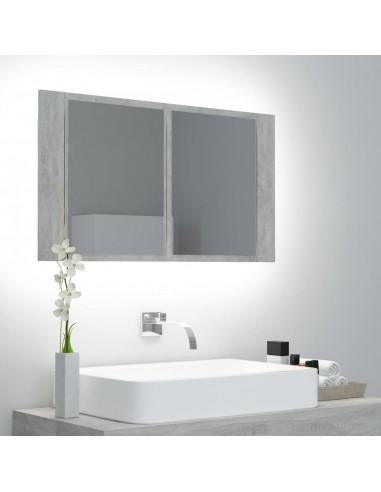 Veidrodinė vonios spintelė su LED, betono pilka, 80x12x45cm   Vonios Spintelės   duodu.lt