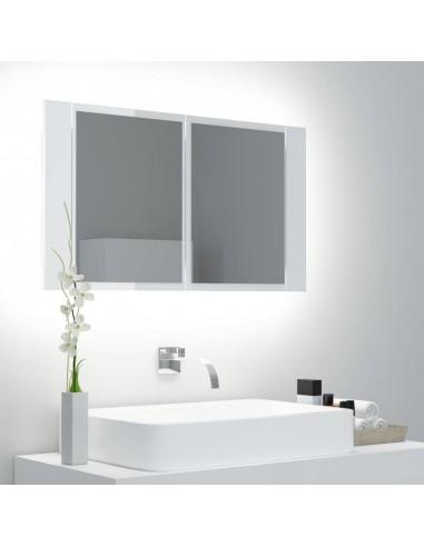 Veidrodinė vonios spintelė su LED, balta, 80x12x45cm, blizgi | Vonios Spintelės | duodu.lt