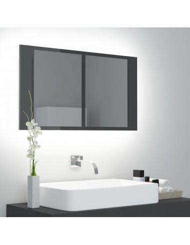 Veidrodinė vonios spintelė su LED, pilka, 80x12x45cm, blizgi | Vonios Spintelės | duodu.lt