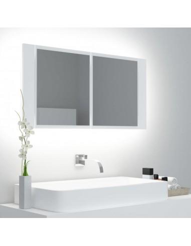 Veidrodinė vonios spintelė su LED, balta, 90x12x45cm | Vonios Spintelės | duodu.lt