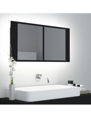 Veidrodinė vonios spintelė su LED, juoda, 90x12x45cm   Vonios Spintelės   duodu.lt