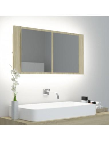 Veidrodinė vonios spintelė su LED, ąžuolo, 90x12x45cm   Vonios Spintelės   duodu.lt