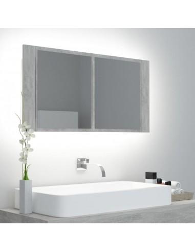 Veidrodinė vonios spintelė su LED, pilka, 90x12x45cm   Vonios Spintelės   duodu.lt
