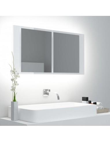 Veidrodinė vonios spintelė su LED, balta, 90x12x45cm, blizgi | Vonios Spintelės | duodu.lt