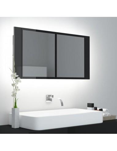 Veidrodinė vonios spintelė su LED, juoda, 90x12x45cm, blizgi | Vonios Spintelės | duodu.lt