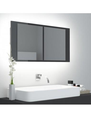 Veidrodinė vonios spintelė su LED, pilka, 90x12x45cm, blizgi | Vonios Spintelės | duodu.lt