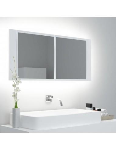 Veidrodinė vonios spintelė su LED, balta, 100x12x45 cm | Vonios Spintelės | duodu.lt