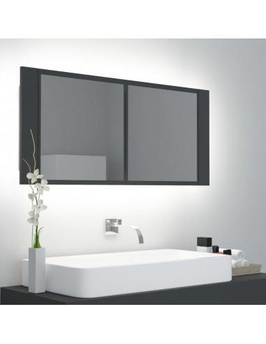 Veidrodinė vonios spintelė su LED, pilka, 100x12x45cm   Vonios Spintelės   duodu.lt