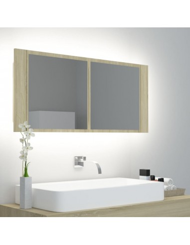 Veidrodinė vonios spintelė su LED, ąžuolo spalvos, 100x12x45cm | Vonios Spintelės | duodu.lt
