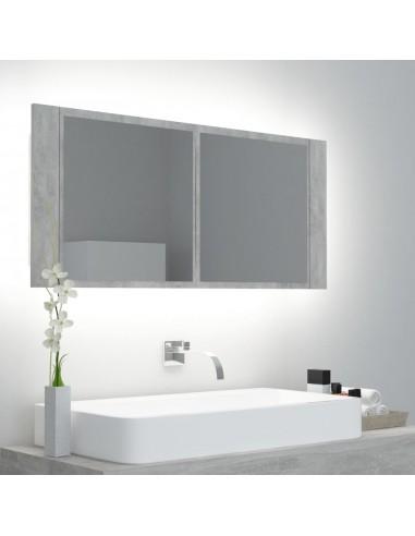 Veidrodinė vonios spintelė su LED, betono pilka, 100x12x45cm | Vonios Spintelės | duodu.lt