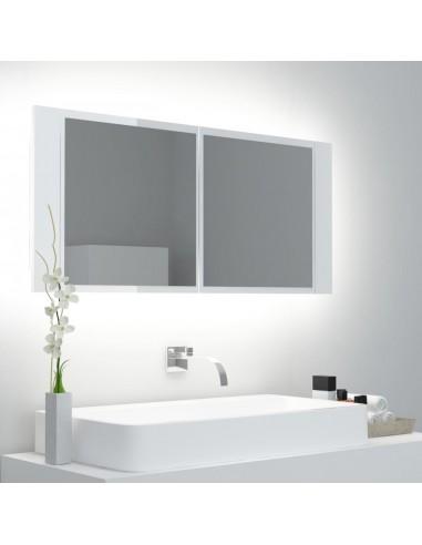 Veidrodinė vonios spintelė su LED, balta, 100x12x45cm   Vonios Spintelės   duodu.lt