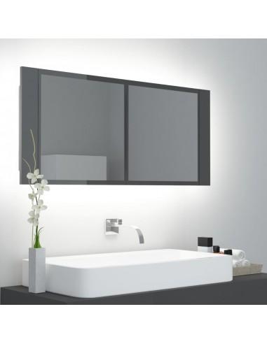 Veidrodinė vonios spintelė su LED, pilka, 100x12x45cm, blizgi | Vonios Spintelės | duodu.lt
