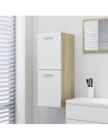 Vonios kambario spintelė, balta ir ąžuolo, 30x30x80cm, MDP | Vonios baldų komplektai | duodu.lt