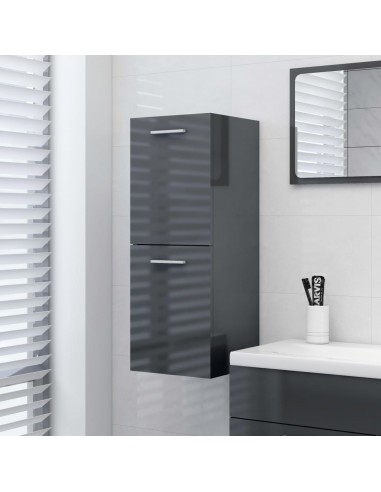 Vonios kambario spintelė, pilka, 30x30x80cm, MDP, ypač blizgi | Vonios baldų komplektai | duodu.lt
