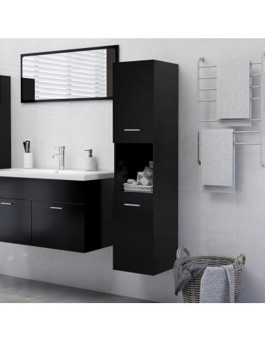 Vonios kambario spintelė, juodos spalvos, 30x30x130cm, MDP | Vonios baldų komplektai | duodu.lt