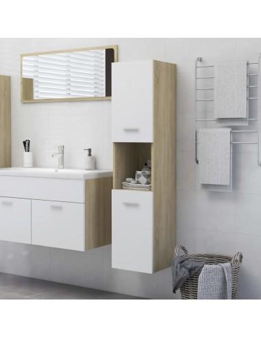Vonios kambario spintelė, balta ir ąžuolo, 30x30x130cm, MDP   Vonios baldų komplektai   duodu.lt