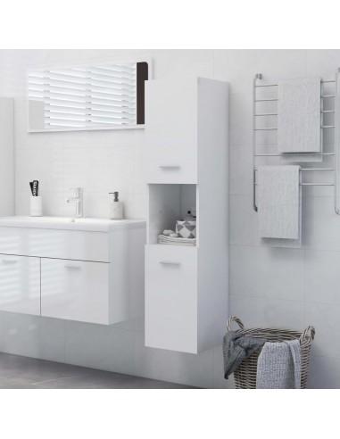Vonios kambario spintelė, balta, 30x30x130cm, MDP, ypač blizgi | Vonios baldų komplektai | duodu.lt