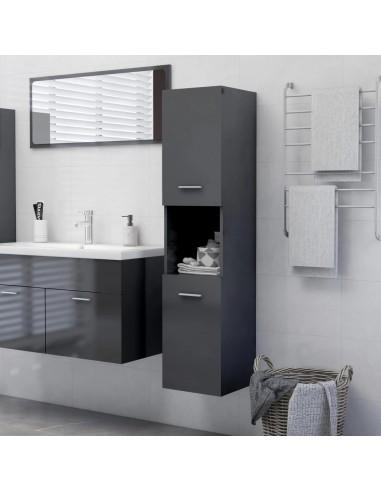 Vonios kambario spintelė, pilka, 30x30x130cm, MDP, ypač blizgi   Vonios baldų komplektai   duodu.lt