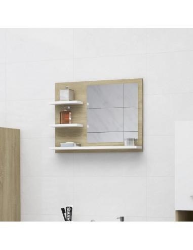 Vonios kambario veidrodis, baltas ir ąžuolo, 60x10,5x45cm, MDP | Vonios Spintelės | duodu.lt