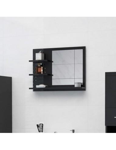 Vonios kambario veidrodis, juodas, 60x10,5x45cm, MDP, blizgus | Vonios Spintelės | duodu.lt