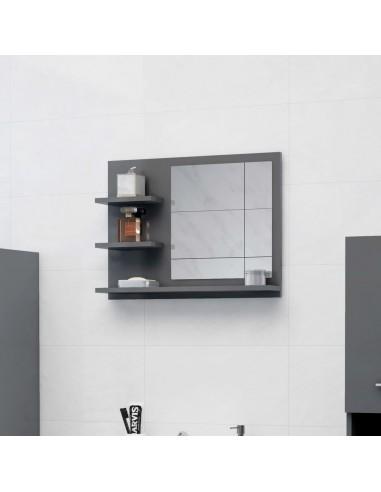 Vonios kambario veidrodis, pilkas, 60x10,5x45cm, MDP, blizgus   Vonios Spintelės   duodu.lt