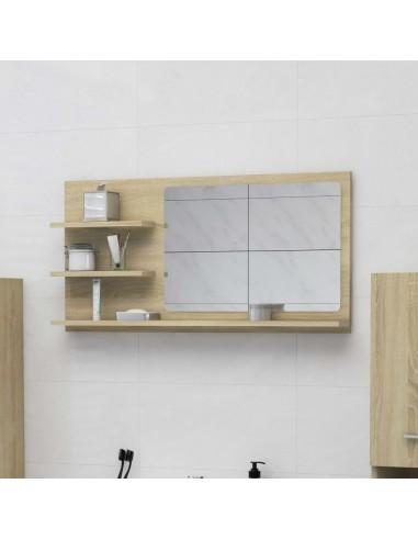 Vonios kambario veidrodis, ąžuolo spalvos, 90x10,5x45cm, MDP | Vonios Spintelės | duodu.lt