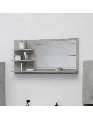 Vonios kambario veidrodis, betono pilkas, 90x10,5x45cm, MDP | Vonios Spintelės | duodu.lt