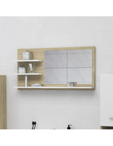 Vonios kambario veidrodis, baltas ir ąžuolo, 90x10,5x45cm, MDP | Vonios Spintelės | duodu.lt