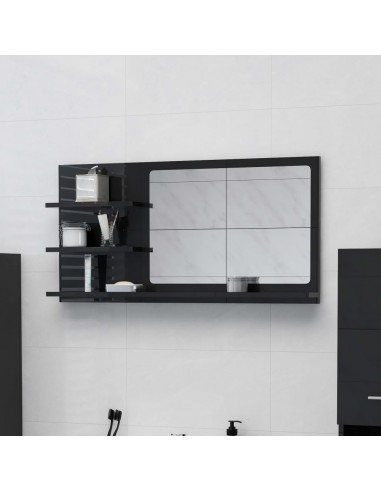 Vonios kambario veidrodis, juodas, 90x10,5x45cm, MDP, blizgus   Vonios Spintelės   duodu.lt