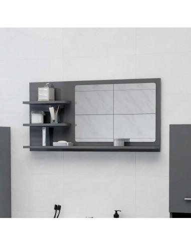 Vonios kambario veidrodis, pilkas, 90x10,5x45cm, MDP, blizgus | Vonios Spintelės | duodu.lt