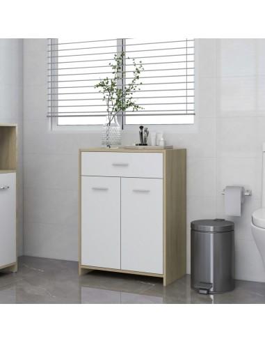 Vonios kambario spintelė, balta ir ąžuolo, 60x33x80cm, MDP | Vonios baldų komplektai | duodu.lt